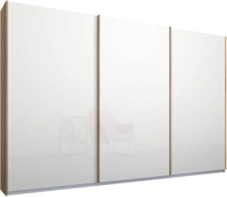 An Image of Malix 3 door 270cm Sliding Wardrobe, Oak frame,White Glass doors, Standard Interior