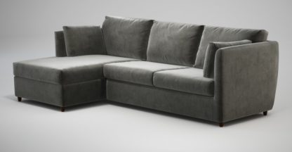 An Image of Custom MADE Milner Left Hand Facing Corner Storage Sofa Bed with Foam Mattress, Steel Grey Velvet