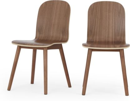An Image of Set of 2 Universal dining chairs, walnut