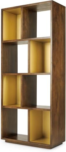 An Image of Anderson Narrow Shelving Unit, Mango Wood and Brass