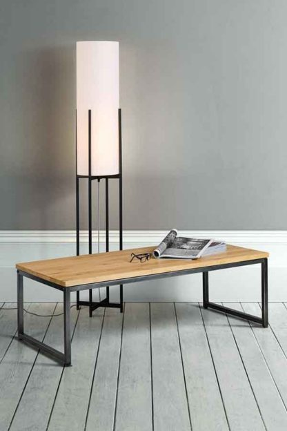 An Image of Qubix Industrial Coffee Table - Solid oak and steel