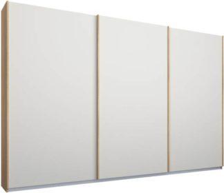 An Image of Malix 3 door 270cm Sliding Wardrobe, Oak frame,Matt White doors, Standard Interior