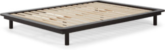 An Image of MADE Essentials Kano platform Kingsize Bed, Black Stain Pine