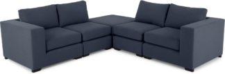 An Image of Mortimer Modular Corner Sofa Group, Deep Blue Cotton Mix