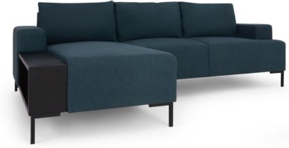 An Image of MADE Essentials Oskar Left Hand Facing Chaise End Corner Sofa With Table, Aegean Blue