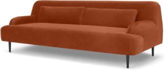 An Image of Giselle 3 Seater Sofa, Nutmeg Orange Velvet