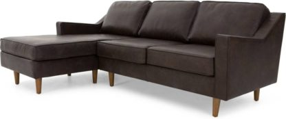 An Image of Dallas Left Hand Facing Chaise End Corner Sofa, Oxford Brown Premium Leather