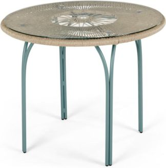 An Image of Lyra Garden 4 seater Round Dining Table, Grey and Blue
