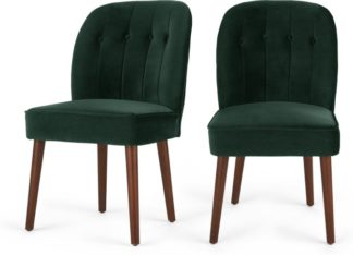 An Image of Set of 2 Margot Dining Chairs, Pine Green Velvet