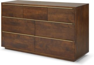 An Image of Anderson Wide Chest of Drawers, Mango Wood & Brass