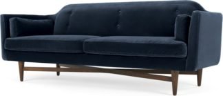 An Image of Imani 3 Seater Sofa, Navy Cotton Velvet