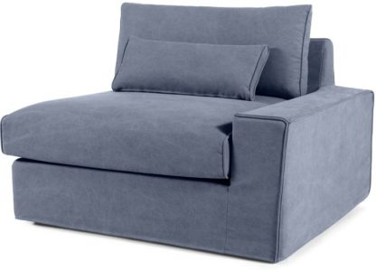 An Image of Trent Loose Cover Modular Right Hand Facing Sofa Arm, Washed Blue Cotton