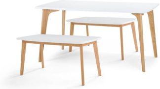 An Image of Fjord Dining Table and Bench Set , Oak and White
