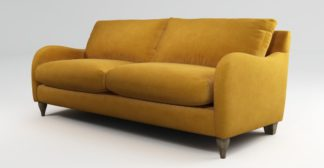 An Image of Custom MADE Sofia 3 Seater Sofa, Plush Tumeric Velvet with Light Wood Leg