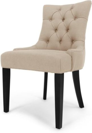 An Image of Flynn Scoop Back Dining Chair, Biscuit Beige and Black