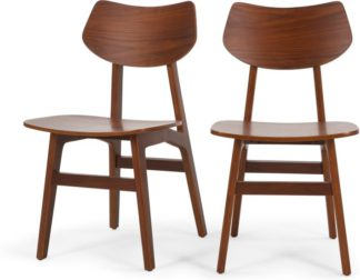 An Image of 2 x Jacob Dining Chairs, Natural Walnut
