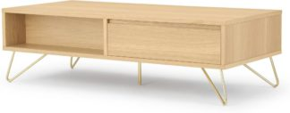 An Image of Elona Coffee Table, Oak & Brass