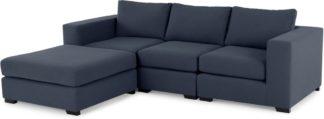 An Image of Mortimer 4 Seater Modular Corner Sofa, Deep Blue Cotton