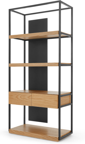 An Image of Travers Shelving Unit, Black Metal and Ash