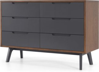 An Image of Jenson Wide Chest Of Drawers Dark stain and Grey