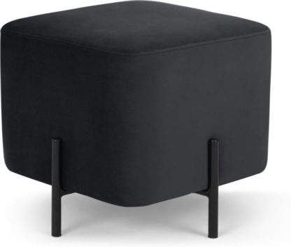 An Image of Eda Footstool, Opulence Charcoal Velvet