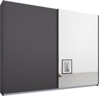 An Image of Malix 2 door 225cm Sliding Wardrobe, Graphite Grey frame,Matt Graphite Grey & Mirror doors , Classic Interior
