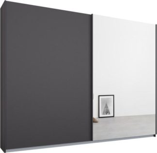 An Image of Malix 2 door 225cm Sliding Wardrobe, Graphite Grey frame,Matt Graphite Grey & Mirror doors , Premium Interior
