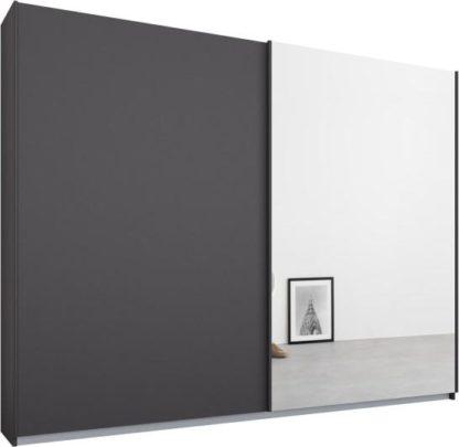 An Image of Malix 2 door 225cm Sliding Wardrobe, Graphite Grey frame,Matt Graphite Grey & Mirror doors , Premium Interior