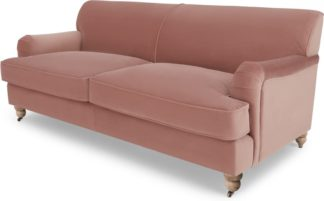 An Image of Orson 3 Seater Sofa, Vintage Pink Velvet