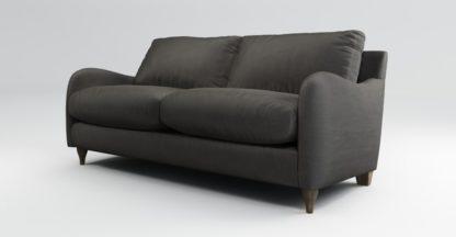 An Image of Custom MADE Sofia 2 Seater Sofa, Plush Asphalt Velvet with Light Wood Legs