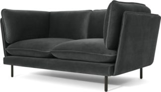 An Image of Wes 2 Seater Sofa, Midnight Grey Velvet
