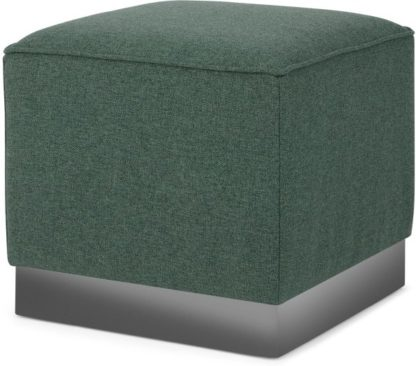 An Image of Hetherington Square Pouffe, Darby Green with Nickel Base