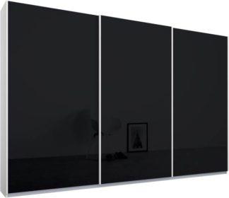 An Image of Malix 3 door 270cm Sliding Wardrobe, White frame,Basalt Grey Glass doors , Classic Interior