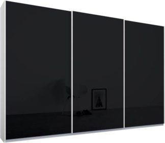 An Image of Malix 3 door 270cm Sliding Wardrobe, White frame,Basalt Grey Glass doors, Standard Interior