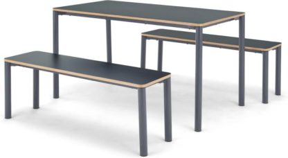 An Image of MADE Essentials Mino Dining Table and Set of 2 Benches, Grey