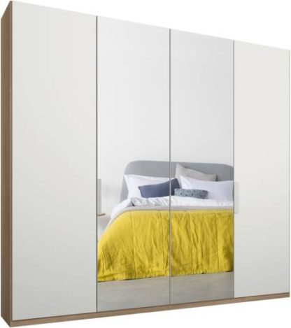 An Image of Caren 4 door 200cm Hinged Wardrobe, Oak Frame, Matt White & Mirror Doors, Standard Interior