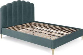 An Image of Delia Double Bed, Marine Green Velvet