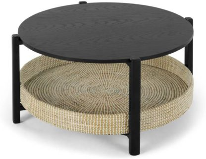 An Image of Pipel Coffee Table, Black Stain and Rattan