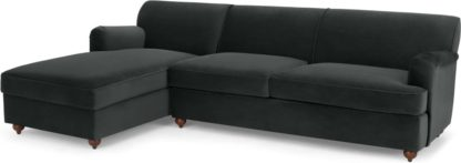An Image of Orson Left Hand Facing Chaise End Sofa Bed, Velvet Midnight Grey