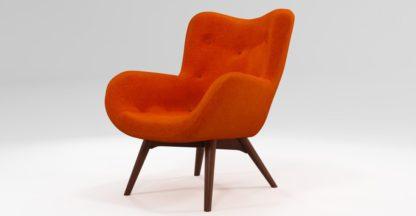 An Image of Custom MADE Doris Accent Chair, Citrus Orange Velvet with Dark Wood Legs