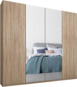 An Image of Caren 4 door 200cm Hinged Wardrobe, Oak Frame, Oak & Mirror Doors, Standard Interior