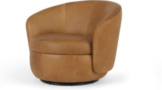 An Image of Delores Swivel Accent Chair, Pecan Brown Leather