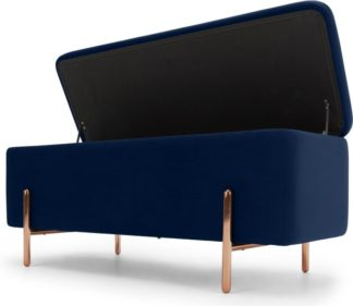 An Image of Asare 110cm Ottoman Storage Bench, Royal Blue Velvet & Copper Legs