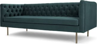 An Image of Julianne 3 Seater Sofa, Petrol Cotton Velvet