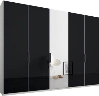 An Image of Caren 5 door 250cm Hinged Wardrobe, White Frame, Basalt Grey Glass & Mirror Doors, Standard Interior