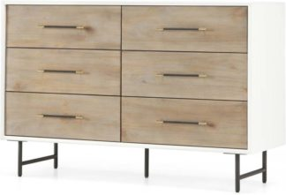 An Image of Ocanda Wide Chest Of Drawers, White & Pine
