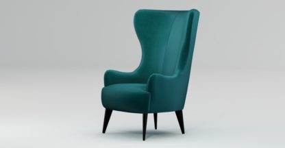 An Image of Custom MADE Bodil Accent Chair, Tuscan Teal Velvet with Black Wood Leg