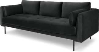 An Image of Harlow 3 Seater Sofa, Midnight Grey Velvet