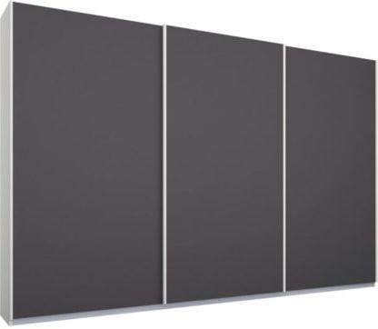 An Image of Malix 3 door 270cm Sliding Wardrobe, White frame,Matt Graphite Grey doors, Standard Interior
