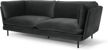 An Image of Wes 3 Seater Sofa, Midnight Grey Velvet